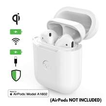 elkson Designed for AirPods Bumper Case Enables Wireless Charging Compatible w/Gen 1 & 2 A1602 Dual Protection PVC Silicone Shockresist Glossy White
