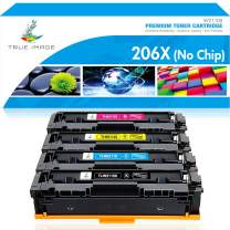 True Image Compatible Toner Cartridge Replacement for HP 206X 206A W2110A W2110X Color LaserJet Pro M255dw MFP M283fdw M283cdw M282nw M283 M255 Printer Toner No Chip (Black Cyan Yellow Magenta,4-Pack)