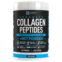 AHOLIC NUTRITION Advanced Collagen Peptides Powder, Grass-Fed Hydrolyzed Collagen Powder with MCT Oil Powder for Stronger Hair, Skin, Nails, Bones & Joints, Unflavored Mixes Easy in Coffee 30 Servings