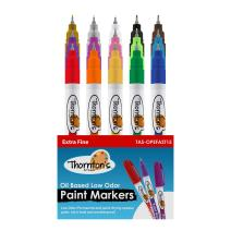Thornton's Art Supply Premium Oil-Based Paint Markers 15 Count Vibrant Pen for Craft Low ordor Permanent Quik Drying Marker Write on Multi Surface Safe for Kids Extra Fine Point Assorted Opaque Paint