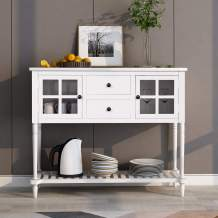 Sideboard, Solid Wood Dining Table, Side Cabinet Console Table with Two Storage Drawers, Two Cabinets and Bottom Shelf, for Living Room and Entrance