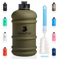 Half Gallon Motivational Water Bottle, Leak Proof Reusable Gym Water Jug with Spout, Dishwasher Safe TRITAN Material, Large Sports Water Bottle for Fitness Workout Office & Cleaning Brush (Dark Green)