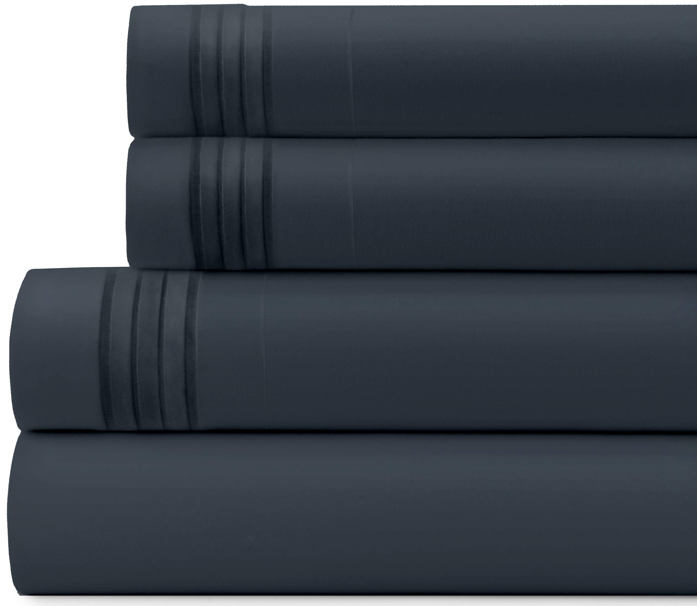 Briarwood Home Bed Sheet Set – Brushed Microfiber 1900 Premium Quality Soft Fabric Breathable Bedding – Deep Pocket – Wrinkle, Fade & Shrinkage Resistant 4 Piece Sheets (Twin/Charcoal)