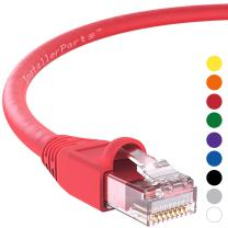 InstallerParts Ethernet Cable CAT6A Cable UTP Booted 15 FT - Red - Professional Series - 10Gigabit/Sec Network/High Speed Internet Cable, 550MHZ
