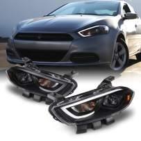 For 2013-2016 Dodge Dart LED Light Tube DRL + Premium Projector Headlights Black Pair Housing