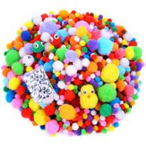 Caydo 1400 Pieces Fuzzy 5 Sizes Multicolor Assorted Pompoms with 4 Sizes Wiggle Eyes for DIY, Creative Crafts Decorations