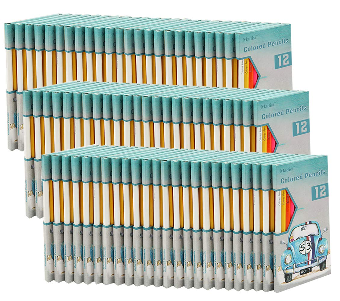 Madisi Colored Pencils Bulk - Non-Toxic Pre-Sharpened - 72 Packs of 12-Count - 864 Class Pack