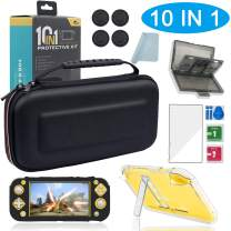 Carrying Case for Nintendo Switch Lite, BRHE Portable Bundle/Clear Case with Kickstand/Silicone Grip Cover/Glass Screen Protector/Game Card Storage/Thumb Caps 10 in 1 Protective Kit Accessories