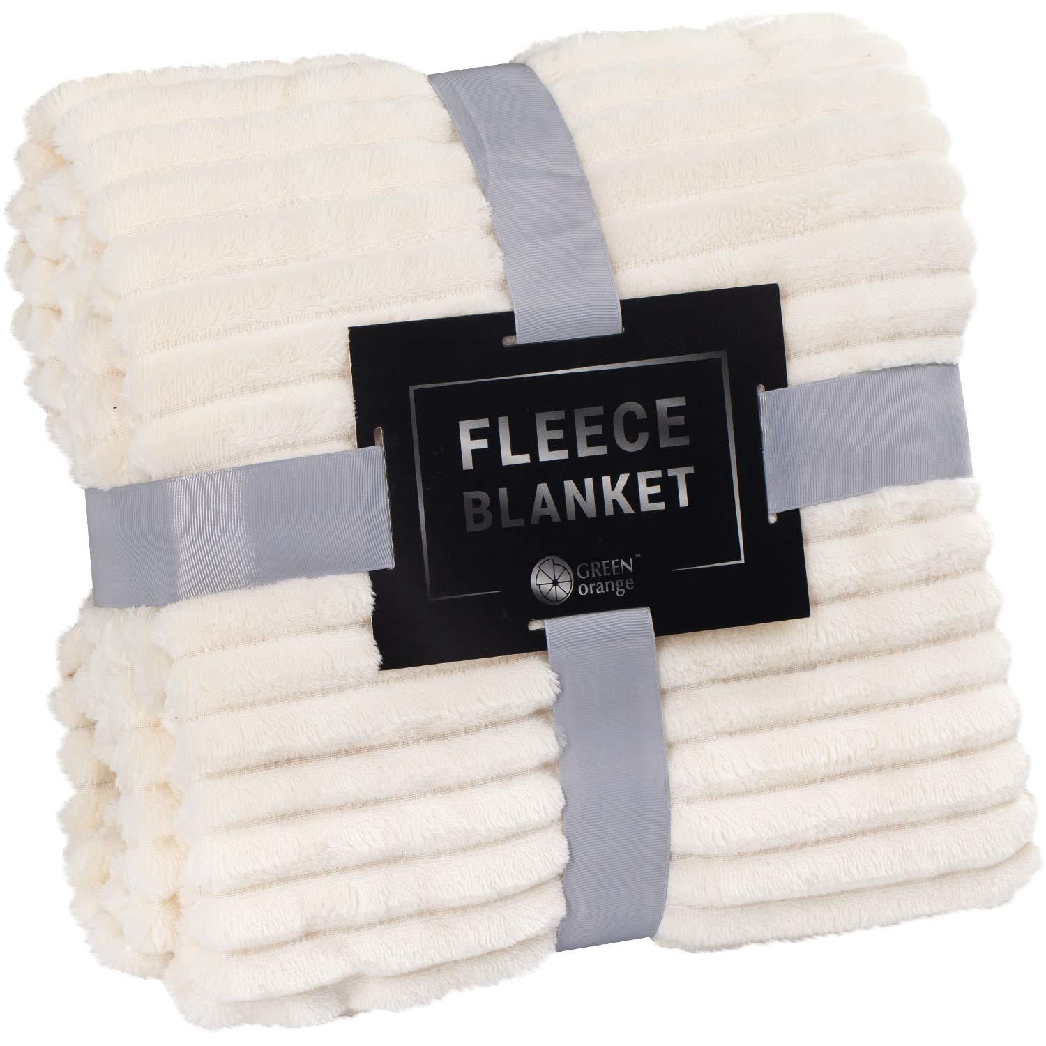 GREEN ORANGE Fleece Blanket Queen Size – 90x90, Milky White – Soft, Plush, Fluffy, Warm, Cozy – Perfect Full Size Throw for Couch, Bed, Sofa