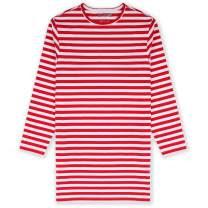 JIAHONG Kids Girls Cotton Elastane Long Sleeve Nightgown Solid and Stripe Color Sleep Shirt 3-12 Years