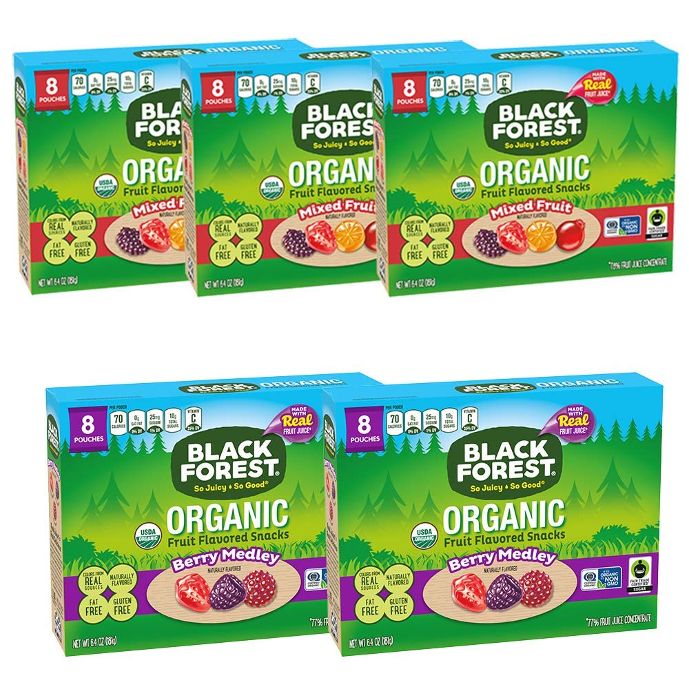 Black Forest Organic Variety Pack, Mixed Fruit & Berry Medley, 8 Count, Pack of 5