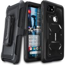 Google Pixel 2 XL Case, COVRWARE [Aegis Series] w/Built-in [Screen Protector] Heavy Duty Full-Body Rugged Holster Armor Case [Belt Swivel Clip][Kickstand], Black