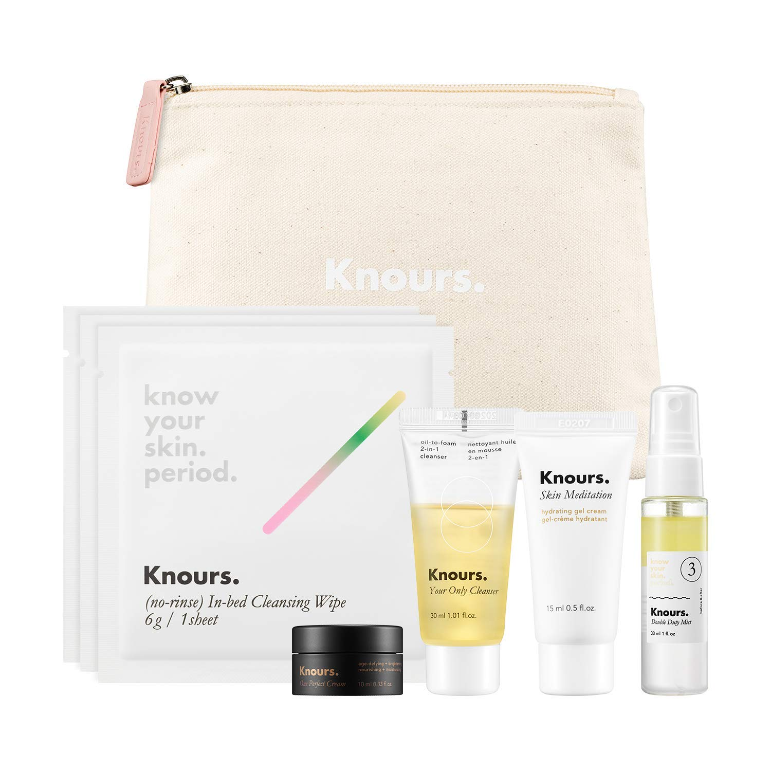 Knours. - Starter Kit | Daily Face Care Kit | Travel Size Products - Double Duty Mist, Your Only Cleanser, Skin Meditation Gel Cream, One Perfect Cream and In-bed Cleansing Wipes