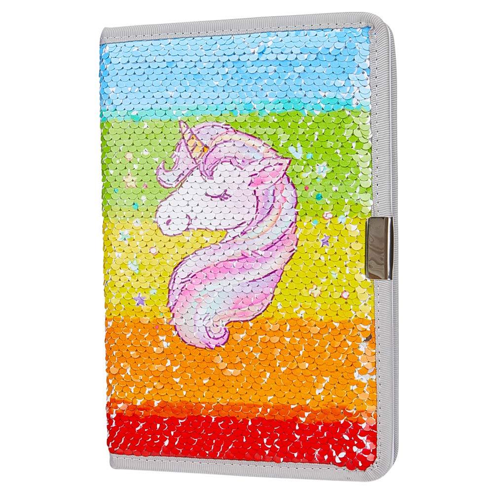 MHJY Unicorn Sequin Journal Mermaid Sequin Notebook Reversible Sequin Journal Flip Sequin Notebook for Kids Girls Diary Unicorn Journal Gifts (Rainbow Unicorn)