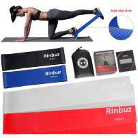 Rinbuz Non-Slip Exercise Resistance Bands for Legs and Butt, Long flat workout Latex Bands Set for Home Fitness Weights Training Extra Thick Heavy Duty Loop Bands Booty Rubber Bands with Carry Bag
