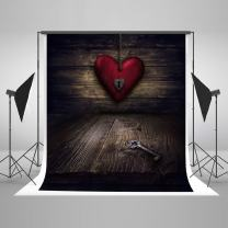 Kate 5×7f Valentine's Photo Backdrops Dark Wood with Love Key Valentines Background for Valentines Photograpy Studio Boothshoot