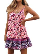 ZESICA Women's Summer Floral Printed Spaghetti Strap V Neck Ruffle A line Swing Beach Short Dress Purple