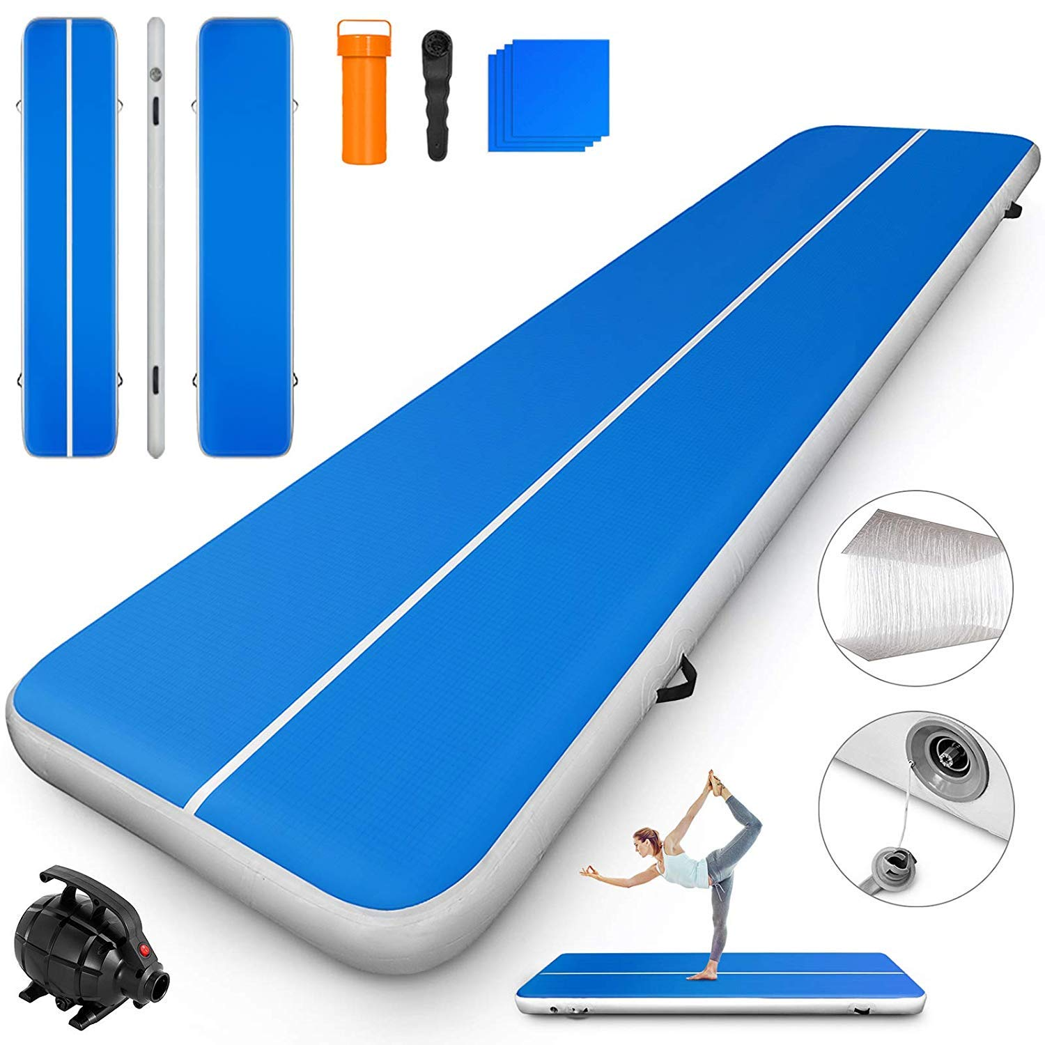 Happybuy 10ft 13ft 16ft 20ft 23ft 26ft 30ft Air Track 8 inches Airtrack 4 inches Inflatable Air Track Tumbling Mat for Gymnastics Martial Arts Cheerleading Tumble Track with Pump Blue 20ft 80x8in