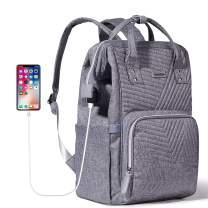 SUNVENO Diaper Bag Backpack, Large Capacity Maternity Travel Bags, Grey