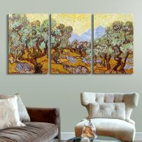 """wall26 3 Panel Canvas Wall Art - Olive Trees by Vincent Van Gogh - Giclee Print Gallery Wrap Modern Home Art Ready to Hang - 24""""x36"""" x 3 Panels"""