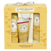 Burt's Bees Baby Sweet Memories Gift Set with Keepsake Photo Box, 4 Baby Products - Shampoo & Wash, Lotion, Diaper Rash Ointment and Soap