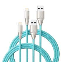 Xcentz iPhone Charger 2 Pack 6ft, Apple MFi Certified Lightning Cable Fast Charger iPhone Cable, Durable Braided Nylon Metal Connector Charger Cord for iPhone X/XS Max/XR/8 Plus/7/6/5/SE, ipad, Blue