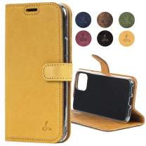 Google Pixel 4 Case, Luxury Genuine Leather Wallet with Viewing Stand and Card Slots, Flip Cover Gift Boxed and Handmade in Europe for Google Pixel 4 - (Honey Gold)