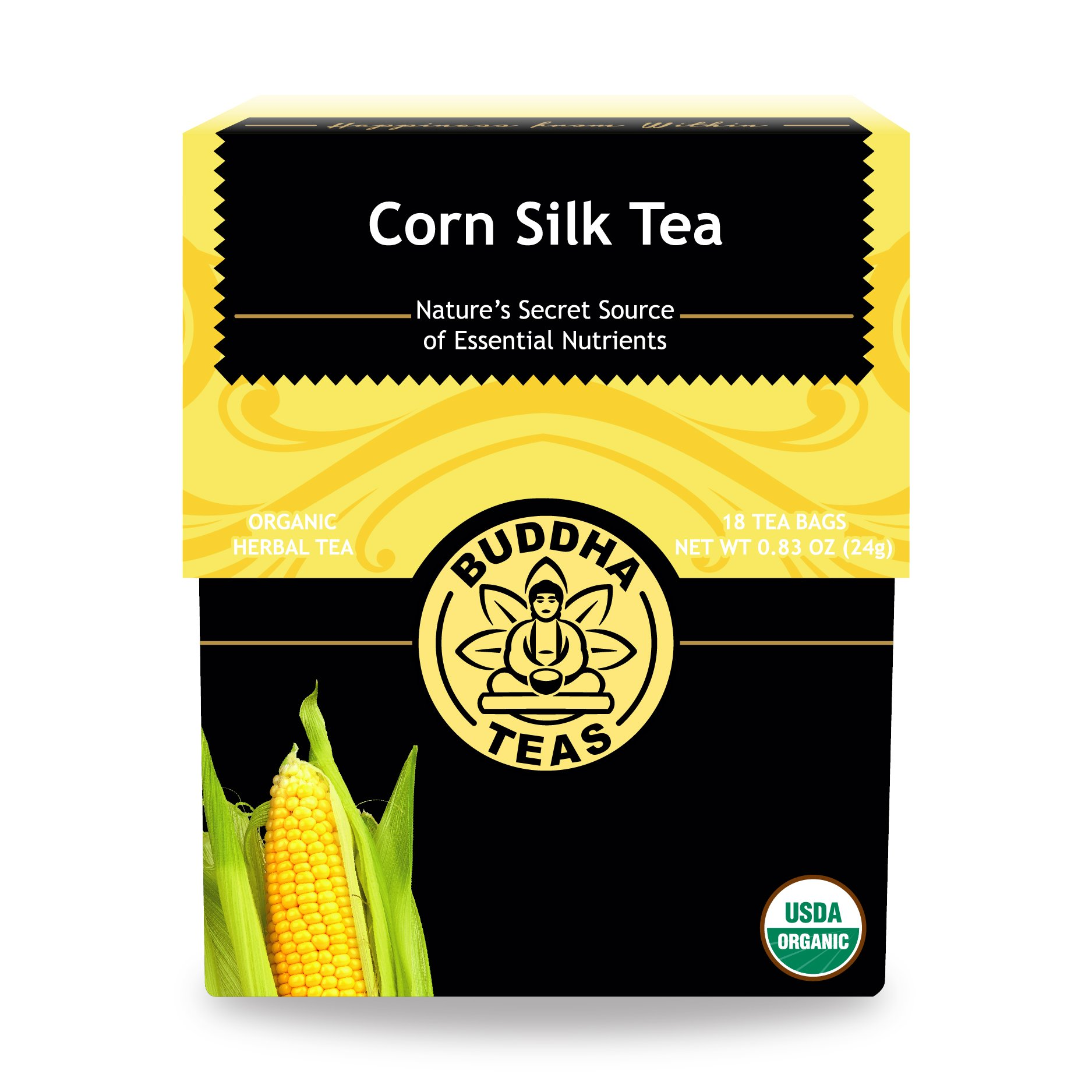 Buddha Teas Organic Corn Silk Tea | 18 Bleach-Free Tea Bags | Supports Urinary Tract Health | Natural Source of Vitamins and Antioxidants | Made in the USA | Caffeine-Free | No GMOs