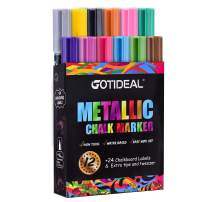 GOTIDEAL Metallic Liquid Chalk Markers, 12 Colors Premium Window Chalkboard Neon Pens, Painting and Drawing for Kids and Adults, Bistro & Restaurant, Wet Erase - Reversible Tip