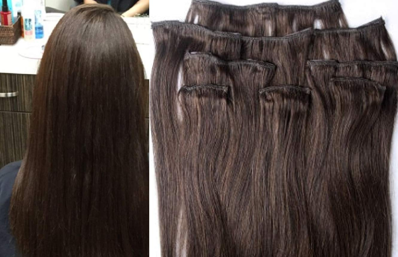 """Hair Faux You 18"""" Clip in Hair Extensions Real Human Hair 80g Clip on for Full Head 7 pieces, 14 clips, Silky Straight Weft Remy Hair Color #2 Darkest Brown"""