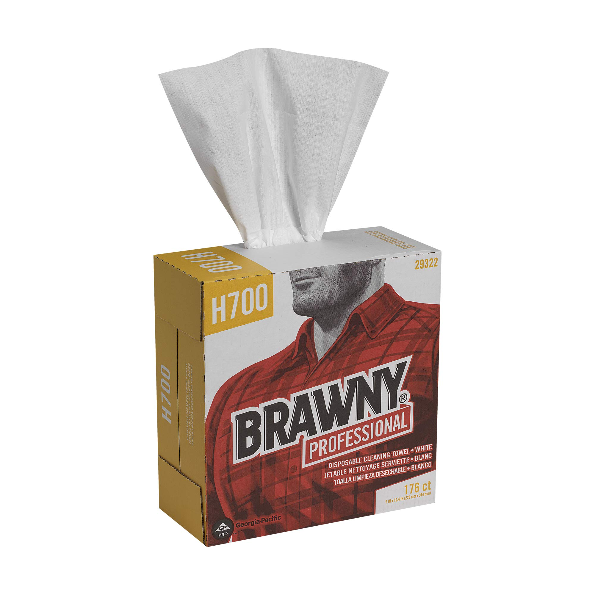 Brawny Professional Heavyweight Disposable Shop Towels by GP PRO (Georgia-Pacific), White, 29322, 176 Towels Per Box, 10 Boxes Per Case (1760 Total)
