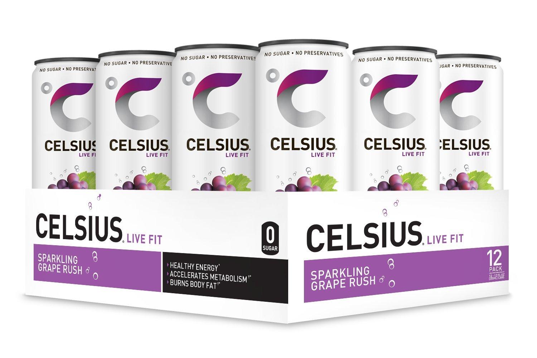 CELSIUS Sparkling Grape Rush Fitness Drink, Zero Sugar, 12oz. Slim Can, 12 Pack