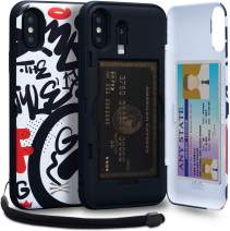 TORU CX PRO II iPhone Xs Wallet Case Pattern Colorful with Hidden Credit Card Holder ID Slot Hard Cover, Strap, Mirror & Lightning Adapter for iPhone Xs (2018) / iPhone X (2017) - Graffiti