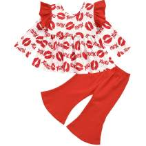 Little Girl Outfit Kids Toddler Girl Ruffle Long Sleeve Dress Top + Flare Pants 2Pcs Clothes Set