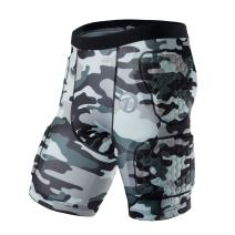 TUOY Men's Padded Compression T Shirt Shorts Chest Shoulder Rib Hip Protector for Football Basketball Paintball Contact Sports (Camouflage)