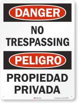 "SmartSign 3M Engineer Grade Reflective OSHA Safety Sign, Legend ""Danger: No Trespassing"", 24"" high x 18"" wide, Black/Red on White"