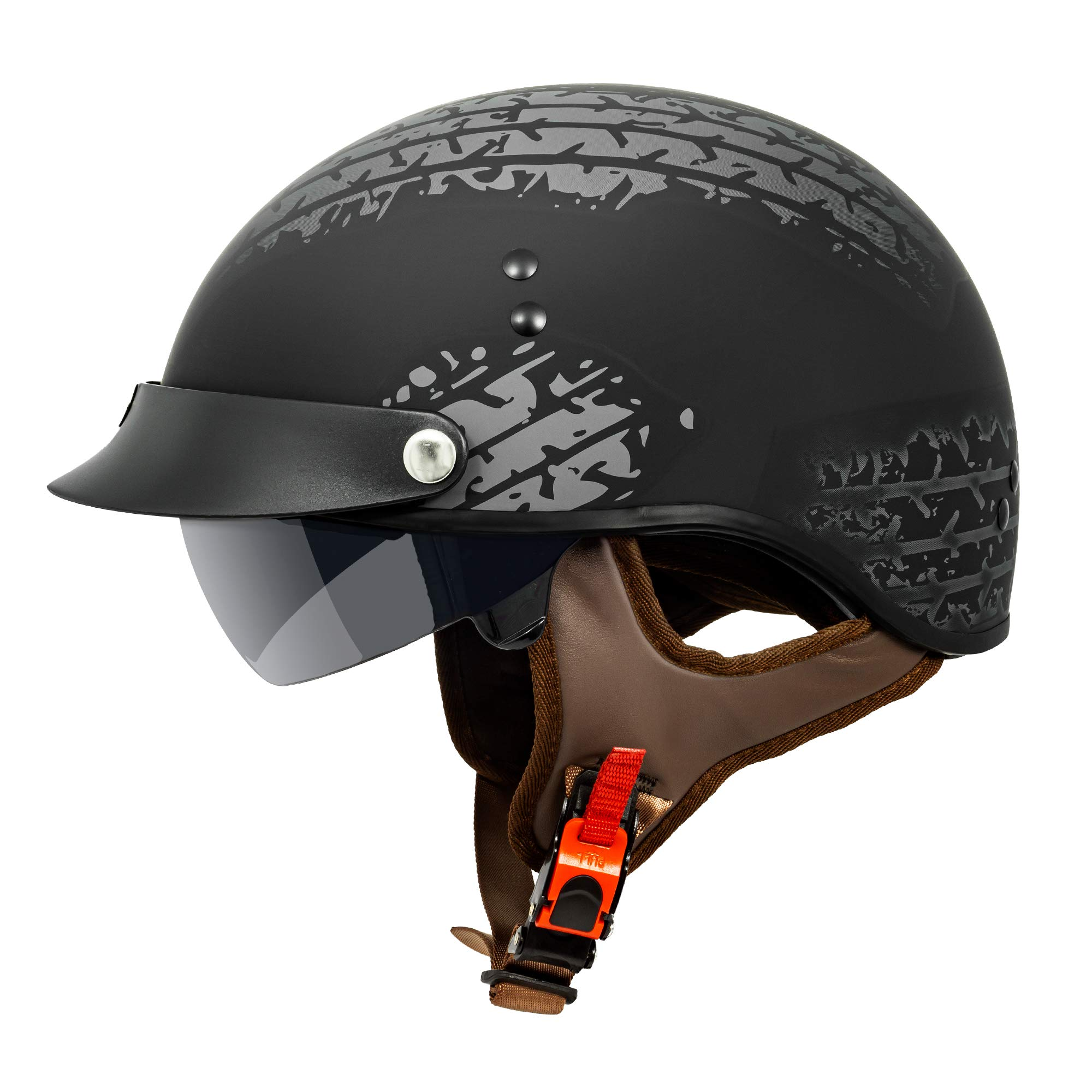 VCAN Cruiser Solid Flat Black Half Face Motorcycle Helmet with Drop-Down Sun Visor, Removable Peak and Quick Release Buckle (Tread, X-Small)