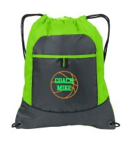 Personalized Basketball Cinch Backpack with Custom Text | Drawstring Bag with Customizable Embroidered Monogram Design (Lime/Deep Smoke)