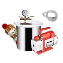 1 Gallon Vacuum Chamber,with 1/4HP Vacuum Pump,w/3 CFM Pump Hose (Shipping from USA) (1 Gallon Vacuum Chamber- Vacuum Pump)