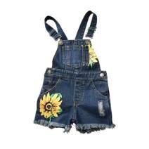 HINTINA Baby & Toddler Girls Big Bibs Overalls Ripped Hole Summer Sunflowers Jumpsuit Boyfriend Jeans Denim Romper Shortalls