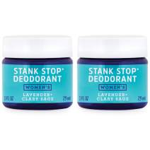 FATCO Stank Stop All Natural Deodorant Cream in a Jar with Tallow and Organic Coconut Oil – Lavender + Sage 2-Pack (1 oz)