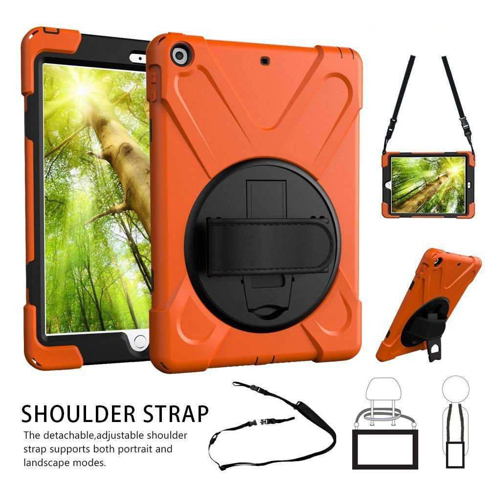 TSQ iPad 9.7 Case, iPad 5th 6th Generation Case Cover for Kids Girl, Durable Protective Defender Car Case with 360 Rotation Stand, Handle Hand Strap,Shoulder Strap for Model A1954 A1822 A1823 Orange