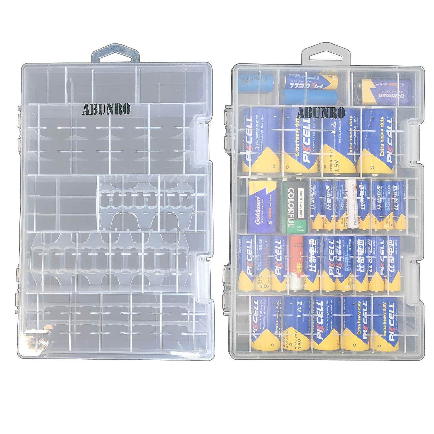 2pcs Battery Organizer Storage case for 136pcs Battery Holds, AA, AAA, C, D, 9 Volt Sizes and Button Battery Storage Box, Great Storage fordrawer Tools Room