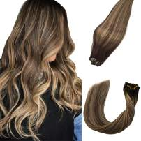 """Clip in Human Hair Extensions 20"""" 120G Highlighted Color #4 Medium Brown Fading to #27 Roots Medium Brown Skin Weft Clip in Hair Soft Silky Straight for Fashion Women"""