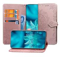 MEUPZZK Google Pixel 3a XL Wallet Case, 3D Mandala Flower Embossed Premium PU Leather Kickstand Flip Cover Card Holders & Hand Strap Wallet Case for Google Pixel 3a XL 6.0 Inch Rose Gold