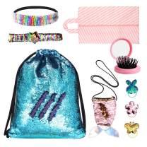 Alritz Gift for Girls,Mermaid Reversible Sequin Drawstring Bags Dance Backpack