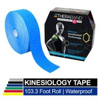TheraBand Kinesiology Tape, Waterproof Physio Tape for Pain Relief, Muscle & Joint Support, Standard Roll with XactStretch Application Indicators, 2 Inch x 103.3 Foot Bulk Roll, Blue/Blue