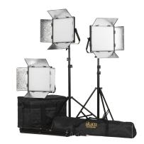 Ikan Lyra (3X) Daylight 5600K Soft Panel LED (3) 1 x 1 Studio Lighting Kit with Gold & V-Mount Battery Plate, Barndoors, Stands and Case Included (LW10-3PT-KIT) - Black