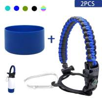 SIMSIMY Paracord Handle for Hydro Flask Wide Mouth Water Bottles with Safety Ring and Carabiner, Plus Protective Silicone Boot Sleeve | Straw Lid with Straws and Brush, Super Value Set Accessories