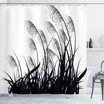"""Ambesonne Black and White Shower Curtain, Silhouette of Bushes Wild Plants Wheat Field Twiggy Herbs Seasonal Picture, Cloth Fabric Bathroom Decor Set with Hooks, 75"""" Long, White Black"""